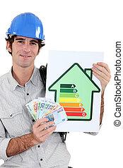 informatie, handleiding, energie, arbeider, contant, vasthouden