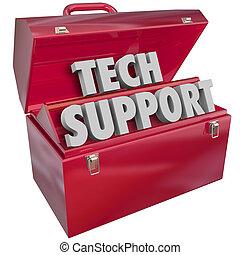 informatie, helpen, steun, computer tech, woorden, toolbox, technologie