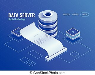 informatie, isometric, kamer, databank, groot bovenst,...