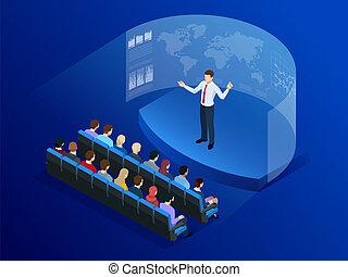 informatie, isometric, technology., communicatie, scherm, mensen, business., analyse, data, voorkant, future., digitale , transformation., technologie