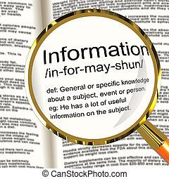 informatie, kennis, definitie, het tonen, vergrootglas, data, feit