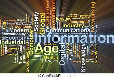 informatie leeftijd, concept, gloeiend, achtergrond