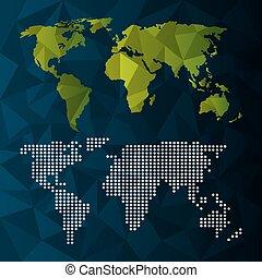 informatie net, dotted, kaart, infographic, wereld