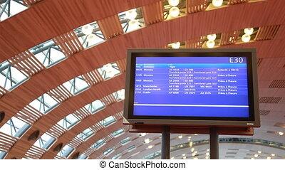 informatie, plank, onder, gewelfd, plafond, van, luchthaven