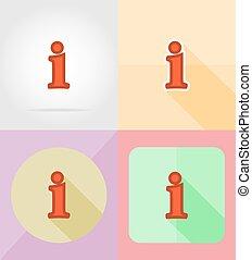 informatie, plat, dienst, iconen, illustratie, vector
