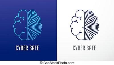 informatie, privacy, netwerk, scanderen, cyber, hersenen, vector, protection., menselijk, vingerafdruk, pictogram, veiligheid, logo, pictogram