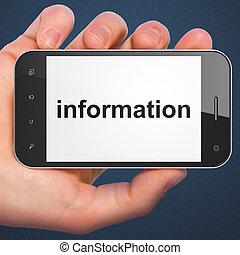 informatie, smartphone, concept: