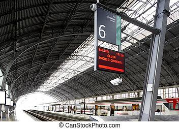 informatie, spoorwegstation, paneel