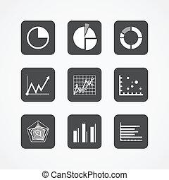 informatie, tabel, iconen, verzameling