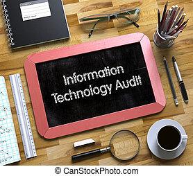 informatie technologie, controle, concept, op, kleine, chalkboard.3d.