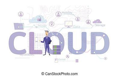 informatie, technology., concept., gegevensverwerking, vrijstaand, plat, vector, illustratie, stijl, wolk, white.