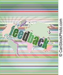 informatie, terugkoppeling, scherm, informatietechnologie, illustratie, vector, woorden, technologie, concept: