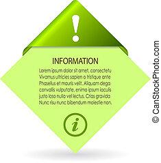 informatie, vector, blad