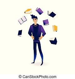 informatie, vliegen, sources., omringde, jonge, boekjes , man