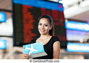 informatie, vlucht, businesswoman, lucht, luchthaven, aantrekkelijk, voorkant, ticket, plank