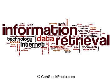 informatie, woord, herwinning, wolk