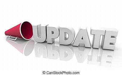 informatie, woord, update, illustratie, bullhorn, nieuws, megafoon, 3d