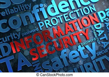 informatie, wordcloud, concept., security.