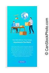 informatieboekje , pakket, wereldwijd, vector, aflevering, ...