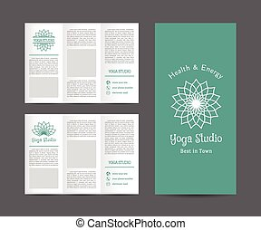 informatieboekje , yoga, vector, studio, mal