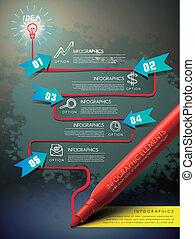 informatiestroomschema, mark, pen, infographic, mal, creatief, tekening