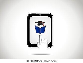 informatietechnologie, concept``, cursus, universiteit, leren, onderwijs, silhouette, tablet, -, jonge, boek, online, witte , lezende , avond, hand, aandoenlijk, student, pictogram, afstand, pet, afgestudeerd, professioneel