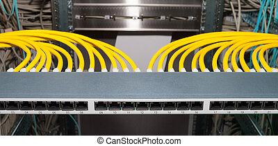 informatietechnologie, datacenter, lap paneel op, voor,...