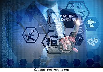 informatietechnologie, gegevensverwerking, machine, leren, concept, technologie, moderne
