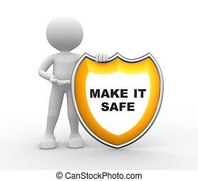 informatietechnologie, maken, shield., brandkast