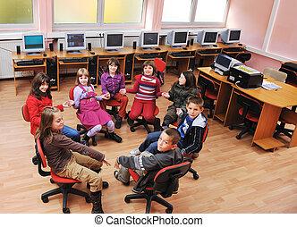informatietechnologie, opleiding, met, kinderen, in, school
