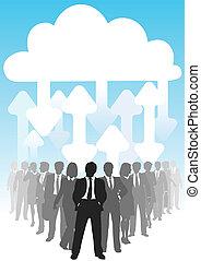 informatietechnologie, pijl, verbinden, zakenlui, wolk, gegevensverwerking