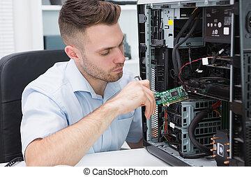 informatietechnologie, probleem, professioneel, repareren, computer