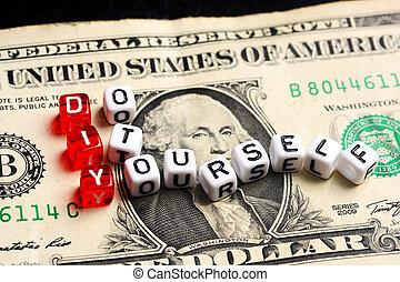 informatietechnologie, rekening, dollar, je, doe het zelf