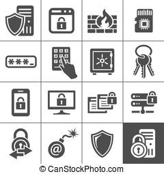 informatietechnologie, veiligheid, icons., simplus, reeks