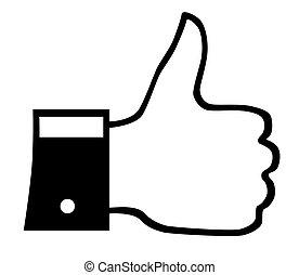 informatietechnologie, zoals, op, duim