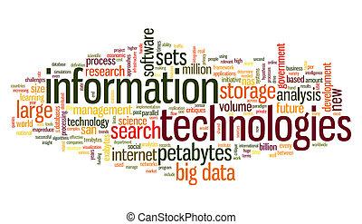 information, étiquette, technologie, nuage