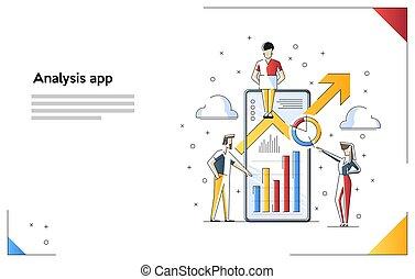 information, évolutionnaire, financier, mobile, numérique, diagramme, illustration, budget., vecteur, analysis., statistique, analyse, scale.
