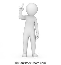 information! 3d human points finger up. image with a work...