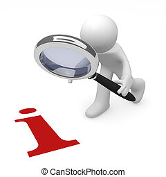 3d man with a magnifying glass and an information icon on background