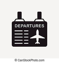 information, aéroport, planche, icône
