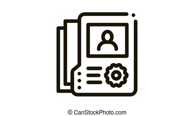information about person Icon Animation. black information about person animated icon on white background