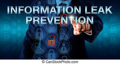 information, administrateur, pousser, prévention, fuite