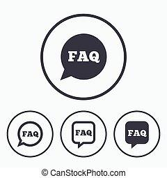 information, aide, faq, bubbles., parole, signs.