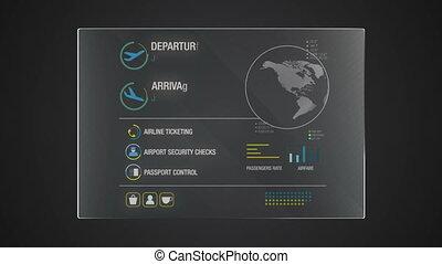 information, 'airplane', graphique, application, utilisateur, numérique, interface, technologie, exposer, panneau
