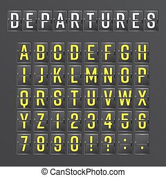 information, alphabet., aalog, aéroport, planche, vector., mécanique, horaire, police