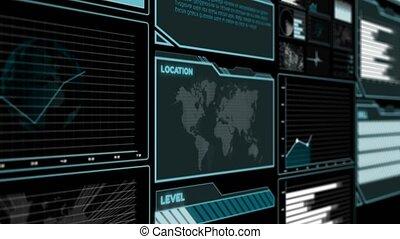 information, analytic, futuriste, utilisateur, données, interface, grand, tableau bord, diagramme