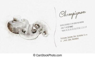 Information and description of Champignon - Watercolor card...