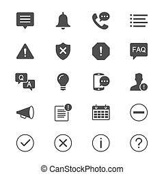 Information and notification flat icons. Simple vector icons. Clear and sharp. Easy to resize.