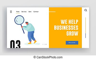 Information and Opportunity Research Website Landing Page. Business Man Character Holding Huge Magnifier Glass. Checklist Filling, Analysis Discovery Web Page Banner. Cartoon Flat Vector Illustration
