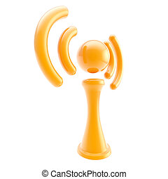 Information and wireless signal glossy icon isolated